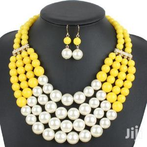 Pearl Beaded Necklace and Earring Set – Yellow/Pink/White | Jewelry for sale in Greater Accra, East Legon