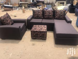 Fresh Chocolate Colour L- Shaped Sofa With Centre Table | Furniture for sale in Greater Accra, Adabraka