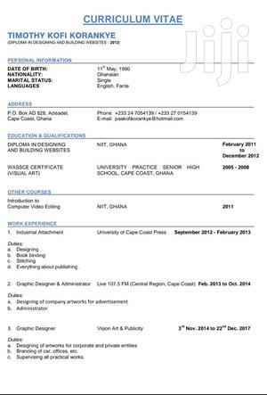 Graphic Designer   Computing & IT CVs for sale in Greater Accra, Kotobabi